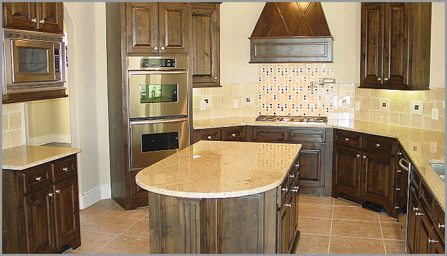 yellow and brown of the Kashmir granite counter tops