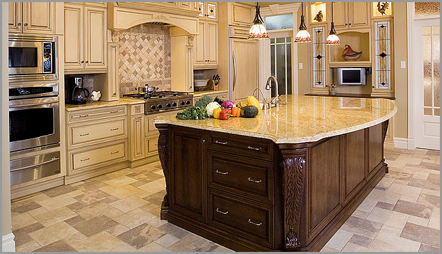 beautiful kitchen is the perfect setting for Kashmir gold granite